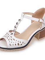 Chaussures Femme-Extérieure / Habillé / Décontracté-Bleu / Rose / Blanc-Gros Talon-Bout Ouvert / A Plateau / Salomé-Sandales-Similicuir