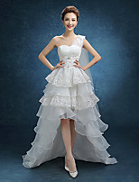 A-line Wedding Dress-Asymmetrical One Shoulder Lace / Tulle