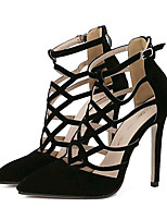 Women's Shoes Fleece Stiletto Heel Heels Heels Party & Evening Black / Almond