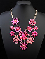 2016 Fashion Necklaces For Women Fabric Acrylic Resin Flower Necklace Collar Statement Necklace Pendant