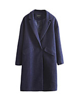 Women's Solid Blue / Gray Coat,Simple Long Sleeve Nylon