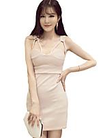 Women's Sexy Solid Sheath Dress,Strap Mini Polyester
