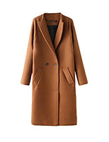 Women's Solid Red / Brown / Gray / Green Coat,Simple Long Sleeve Nylon