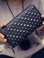 Women PU Bi-fold Checkbook Wallet-Silver / Black