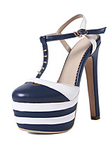 Women's Shoes Leather Stiletto Heel Heels / Platform / Slingback Sandals Party & Evening / Dress / Casual Blue / Red