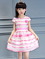 Girl's Cotton Summer Rose Decoration Paillette Stripes Dress