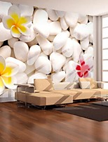 3D Shinny Leather Effect Large Mural Wallpaper Stone And Colourful Flowers Art Wall Decor for Tv Sofa Background Wall