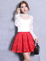 Women's Solid Red / Black Skirts,Vintage / Street chic Mini