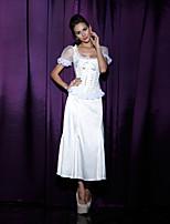 Women's Dots Print Short Sleeve Lace Patchwork Bustier Cincher Waist Corset,Lingerie Shaperwear