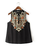 Women's Print Black T-shirt,V Neck Sleeveless