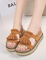 Chaussures Femme-Habillé / Décontracté-Noir / Marron / Beige-Plateforme-Bout Ouvert-Sandales-Similicuir