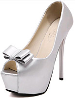 Women's Shoes Leatherette Stiletto Heel Heels / Peep Toe Heels Wedding / Party & Evening Black / Silver