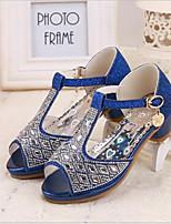 Girls' Shoes Dress Open Toe PU Sandals Blue / Pink / Silver / Gold