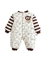 Girl's Brown Overall & Jumpsuit,Stripes / Cartoon Cotton Winter