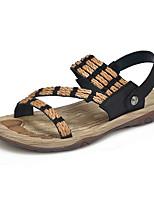 Zapatos de Hombre-Sandalias-Casual-Cuero-Negro / Caqui