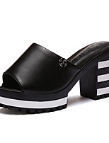 Women's Shoes PU Chunky Heel Peep Toe / Slippers / Open Toe Sandals / Slippers Outdoor / Dress / Casual Black / White