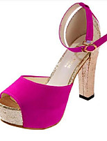 Women's Shoes Synthetic Chunky Heel Heels Heels Office & Career / Dress Black / Blue / Pink