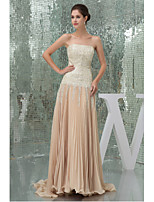Formal Evening Dress A-line Strapless Sweep/Brush Train Chiffon / Sequined