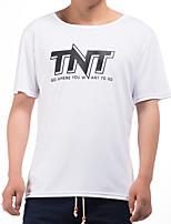 JISNEY Men's Short Sleeve T-Shirt,Cotton Casual / Work / Formal / Sport / Plus Sizes Print