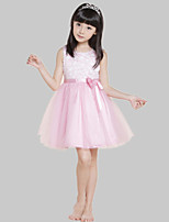 Girl's Pink / White Dress,Print Polyester All Seasons