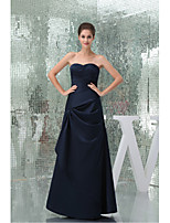 Formal Evening Dress-Dark Navy A-line Sweetheart Floor-length Stretch Satin