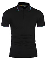Men's High Quality Lapel Short Sleeved Polo Shirt,Cotton / Polyester Casual / Plus Sizes Solid