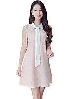 Women's Simple Print A Line Dress,Round Neck Mini Polyester