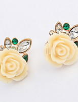 Hot Sale Classic Beige Black Rose Flower Stud Earrings For Women Girls Brincos Jewelry 2016 New Fashion