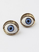 Playful Retro Punk Style Devil Evil Blue Eyes Statement Stud Earrings for Vintage Women