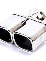 Car Stainless Steel 63 x 56mm Double Outlet Rolled Exhaust Muffler Tip Pipe Silver Tone