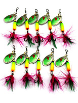 Hengjia 10pcs Spoon Metal Fishing Lures 63mm 3.5g Spinner Baits Random Colors