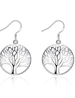 Concise Silver Plated Hollow Tree Style Round Drop Earrings for Party Women Jewelry Accessiories