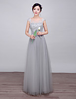 Formal Evening Dress-Silver Ball Gown Scoop Floor-length Lace / Satin / Stretch Satin