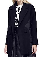 Women's Patchwork Black Pea Coats,Plus Size Long Sleeve Polyester