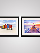 Seasacpe and Wood Bridge Modern Canvas Print Art with Black Frame Set of 2 for Home Decoration Ready To Hang