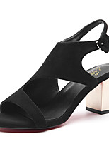 Women's Shoes Suede / Leatherette Chunky Heel Peep Toe Sandals Office & Career / Party & Evening / Dress Black / Beige
