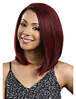 Women's Exquisite Medium Length Straight Fuxia Synthetic Wig