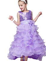 Girl's Dress,Polyester Summer Blue / Purple