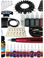 solong tattoo roterende tattoo machine& permanente make-up pen 20 naaldpatronen inktset voeding voetpedaal ek101-2