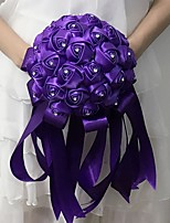 Wedding Flowers Round Roses Bouquets Wedding / Party/ Evening Purple / Champagne Satin 9.06