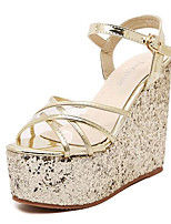 Women's Shoes Leatherette Summer Wedges / Heels Outdoor / Casual Wedge Heel Sequin / Buckle Silver / Gold