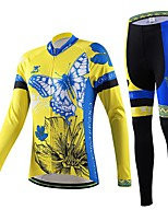 Women's Cycling Blue Flowers Long Sleeve Shirt Bicycle Breathable Quick Dry Jersey + Bike 3D Cushion Pad Pants Suit