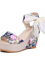 Women's Shoes Leatherette Summer Wedges / Heels Outdoor / Casual Wedge Heel Lace-up Blue / Pink