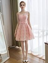 칵테일 파티 드레스-블러싱 핑크 / 버건디 A-라인 무릎 길이 스쿱 레이스 / 새틴