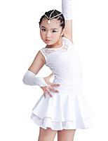 Vestidos(Negro / Rojo / Blanco,Espándex / Poliéster,Danza Latina) -Danza Latina- paraNiños Cristales/Rhinestones / Encaje / Volantes