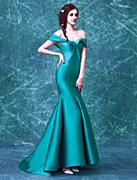 Formal Evening Dress Trumpet/Mermaid Off-the-shoulder Sweep/Brush Train Satin / Taffeta