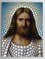 People Jesus Circle Portrait by Ben Heine Canvas Print From Ready to Hang 7 Wall Arts®