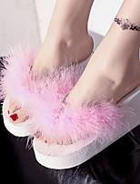 Chaussures Femme-Extérieure / Habillé-Noir / Vert / Rose / Violet / Rouge / Blanc-Plateforme-Tongs-Chaussons-Tissu