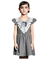 Girl's Dress,Polyester Summer Red / Gray