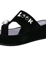 Women's Shoes PU Platform Slippers Sandals / Slippers Outdoor / Dress / Casual Black / White